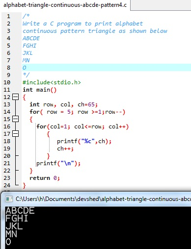 The source code of this C language program to show continuous alphabet pattern is in the following code block.