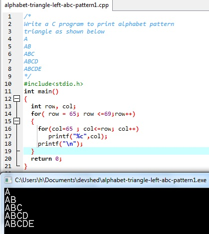 Here is an image to show the sample run and ouput of this Alphabet pattern triangle in C programming: