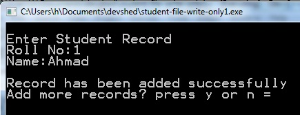 C File program to write records in binary file