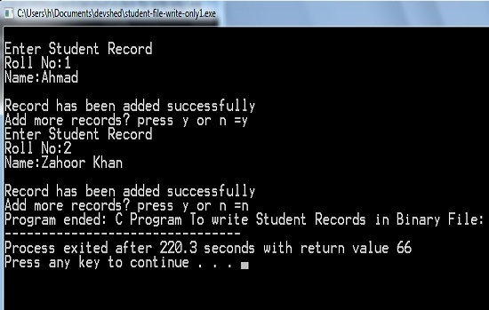 how to Write records in binary fie c filing