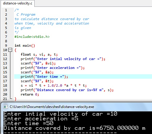 C Program  to calculate distance covered by car  when time, velocity and acceleration is given