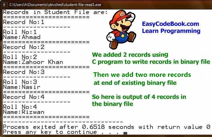 c-program-to-append-add-more-records-in-binary-file-output-display-all-records-
