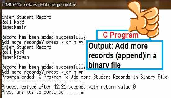 C Program to add more records in binary file