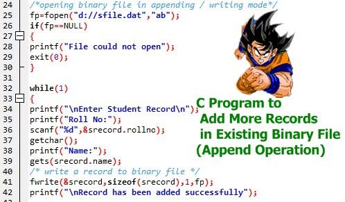 C Program to Append / Add More Records in Binary File