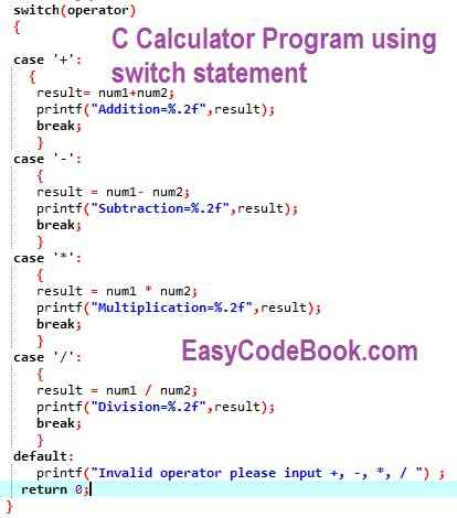 C switch statement calculator program