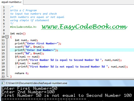 Check Two Numbers Equal or Not C Program | EasyCodeBook.com