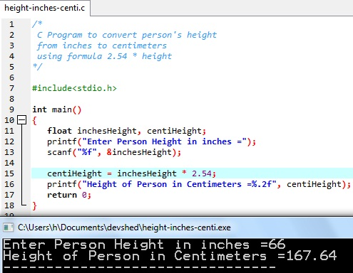 C program to Convert Person Height from Inches to Centimeters