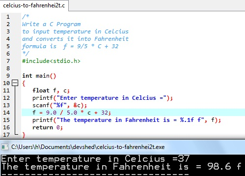Degree Celsius to f program in C