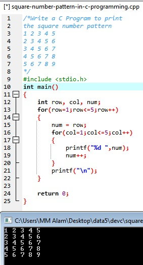 Output of Print Square Number Pattern in C Programming