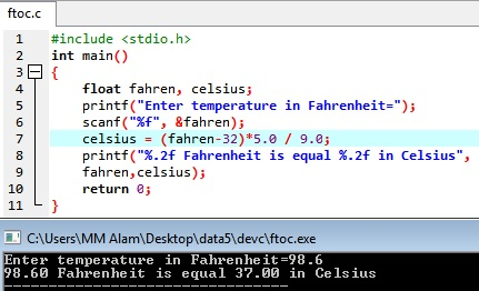 Fahrenheit to Celsius Conversion C Program