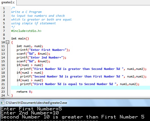 C Program to find out the greater number of two given numbers