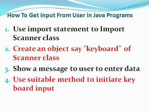 How to get user input from keyboard in Java Programs