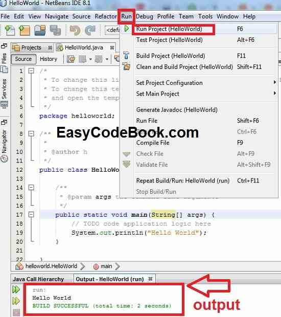 Writing and executing first Java program step wise in netbeans