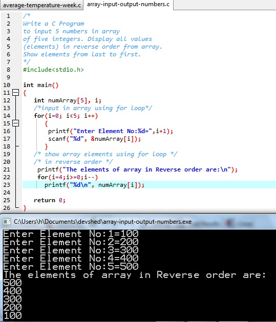 """Display Elements of Array in Reverse Order"" is a C language program. It inputs an array of 5 integer elements. It displays array elements in reverse order on screen."