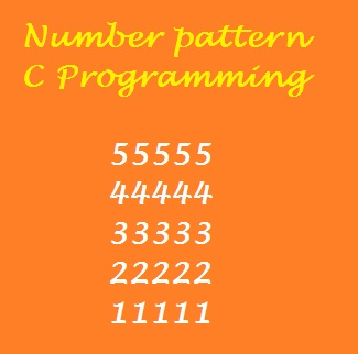 """Print Number Pattern Square Shape 5 to 1"" is a C language program"