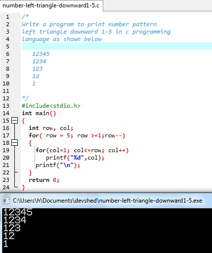 Number triangle pattern in c programming