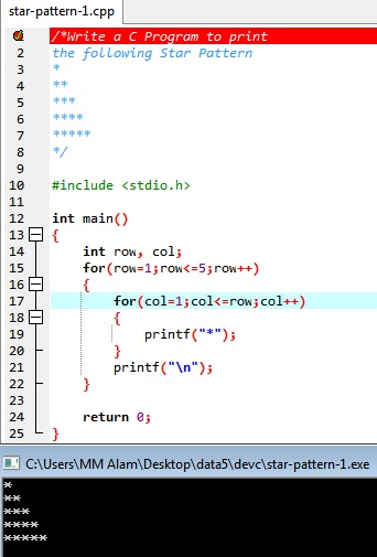 Print Star Pattern Triangle using loop is a C program. It prints a right angle triangle of stars as following image.