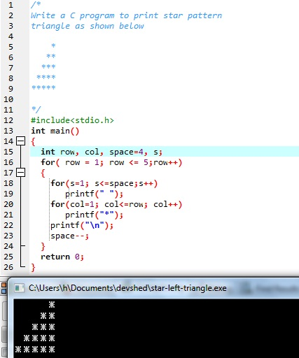 This is an image showing sample run and output of star pattern program in C language.