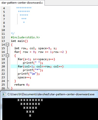 """""""Print star pattern center down triangle"""" is C language program using nested for loop concept."""