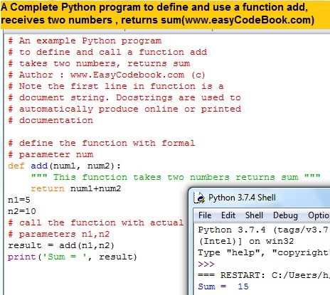 Python function add two numbers complete program