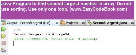 Find second largest number in Java array using only one loop