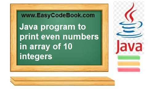 write a Java Array Program to Print List of Even Numbers in array.