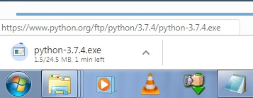 Python installation file started to download