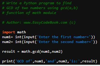 Python GCD code using math.gcd() Function