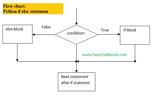 Python if else statement syntax example working flow chart