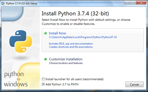 python-now click on Install Now