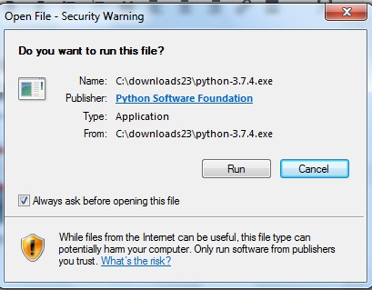 If Windows OS displays a security warning, click on Run button: