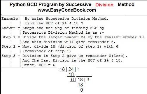 Python GCD Program by Successive Division