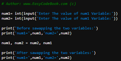 The Source code of Python Swap Two Variables Without Third variable program