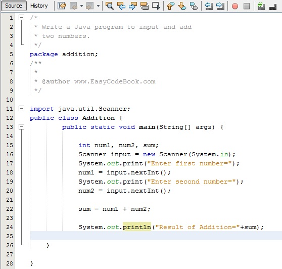 The source code of Java Addition Program