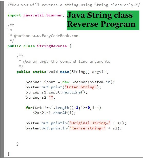 Java String Class Reverse Program