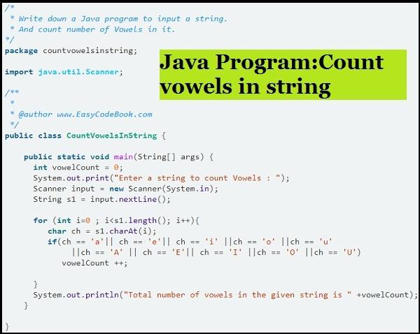 Java Vowel Count Program