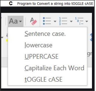 C Program String Toggle Case Conversion