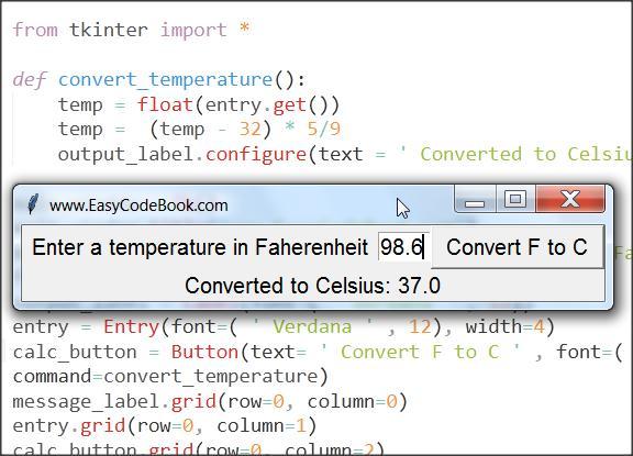 Python GUI Program Temperature Conversion Fahrenheit to Celsius