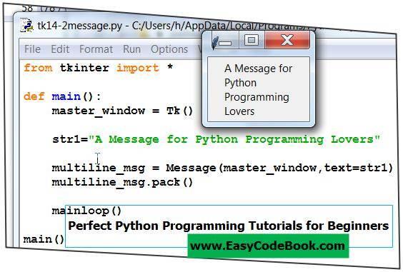 Python 3 tkinter GUI Message Widget Programs