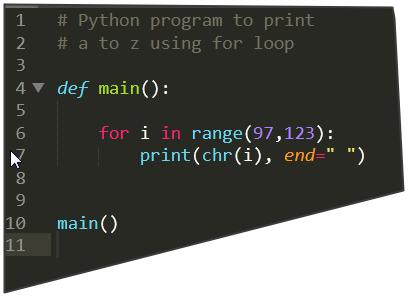 Python program to print a to z using a for loop