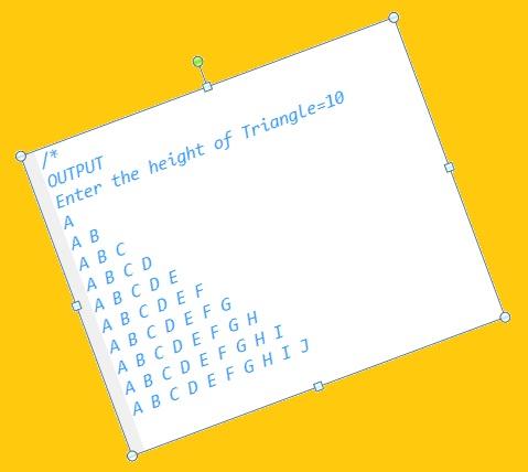 C++ Program Alphabet Triangle Pattern