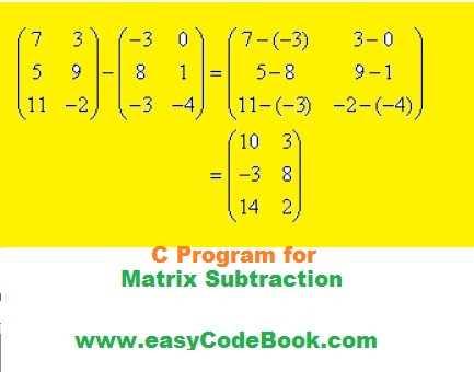 C Program for Matrix Subtraction