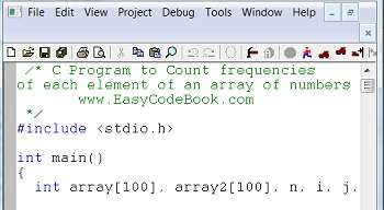 C Program to find count of occurrence frequencies of each element in array