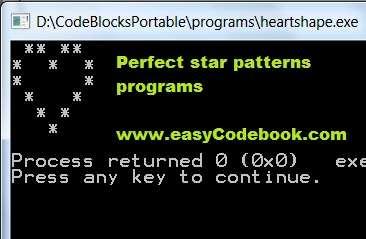 C Program Print Hollow Heart shape star pattern
