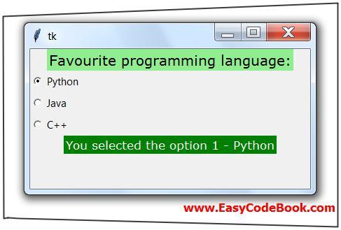 Python 3 GUI Program tkinter Radio Buttons