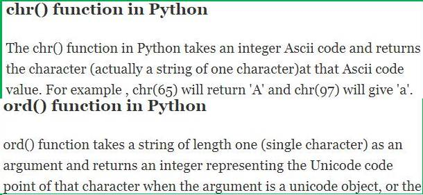 Using chr and ord functions in Python