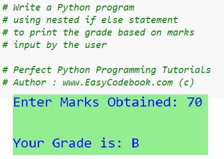 Python Find Grade Using Nested If Else Program