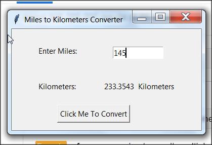 Python 3 GUI Program miles to km conversion