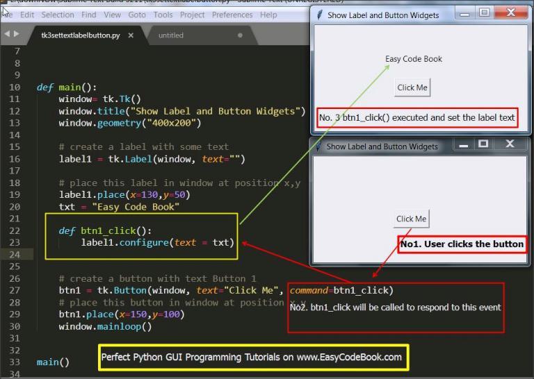 Python 3 Set Label Text on Button Click tkinter GUI Program