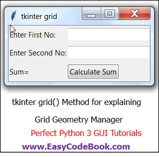 Using grid() method of tkinter Grid Geometry Manager with example python 3 project